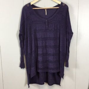 Free People Linen Blend Purple Tunic Blouse Top